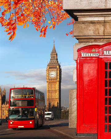 autumn road: London symbols with BIG BEN, DOUBLE DECKER BUS and Red Phone Booths in England, UK
