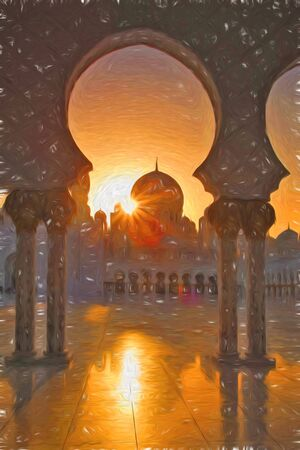 アブダビ, アラブ首長国連邦、中東、アート スタイルのシェイク ・ ザーイド ・ モスク