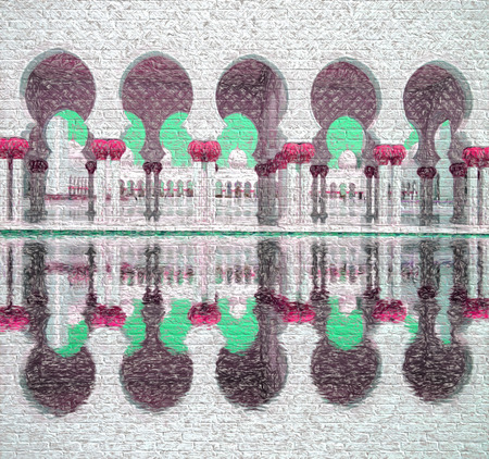 prayer tower: Sheikh Zayed mosque in Abu Dhabi, United Arab Emirates, Middle East, Art style