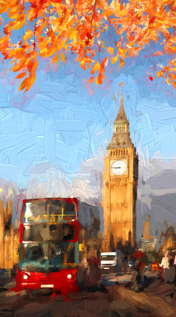 ben oil: Famous Big Ben in London, England, United Kingdom, ARTWORK STYLE
