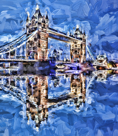art vintage: Famous Tower Bridge Artwork in style in London, England Stock Photo