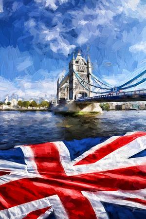 famous paintings: Famous Tower Bridge Artwork in style in London, England Stock Photo