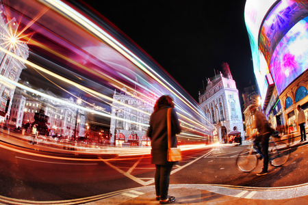 busy: Busy Piccadilly Circus in London by night, England, UK