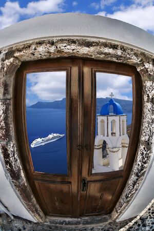 caldera: Santorini island with white architecture in Greece