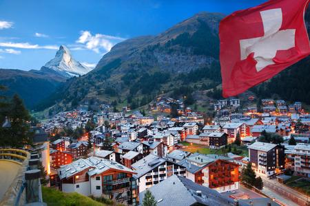 zermatt: Zermatt village with the peak of the Matterhorn in the Swiss Alps Stock Photo