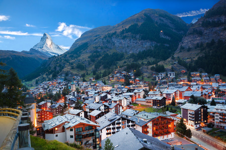 scenery: Zermatt village with the peak of the Matterhorn in the Swiss Alps Stock Photo