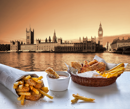 evening newspaper: Fish and Chips against Big Ben in London, England