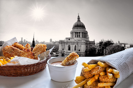 british food: Fish and Chips against St. Pauls Cathedral in London.