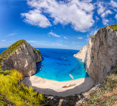 turquoise water: Navagio beach with azure sea against shipwreck on Zakynthos island in Greece