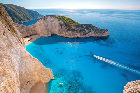 turquoise water: Navagio beach on Zakynthos island in Greece