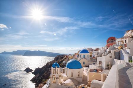 산토리니 섬, 그리스에 Oia 마을 스톡 콘텐츠