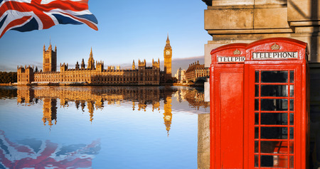 London symbols with Big Ben and Red Phone Booths in England, UK Reklamní fotografie