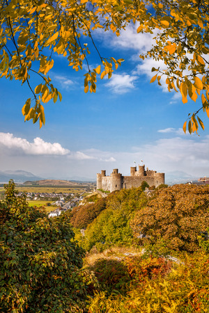 hill of the king: Harlech Castle in Wales, United Kingdom, Walesh series of castles Stock Photo