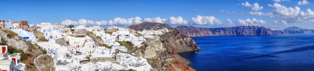 greece: Panorama of Oia village on Santorini island in Greece Stock Photo