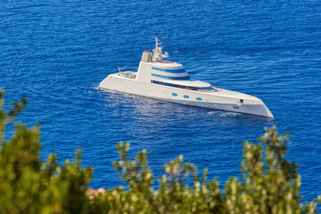 private club: Great Luxury Yacht against azure sea Editorial