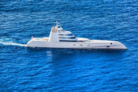 super yacht: Super Luxury Yacht against azure sea