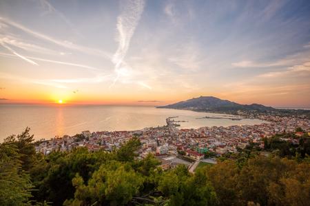 ionio: Zante town During sunrise on Zakynthos island in Greece