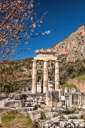 archaeologists: Delphi with ruins of the Temple in Greece Stock Photo