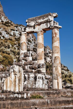 delfi: Delphi with ruins of the Temple in Greece Stock Photo