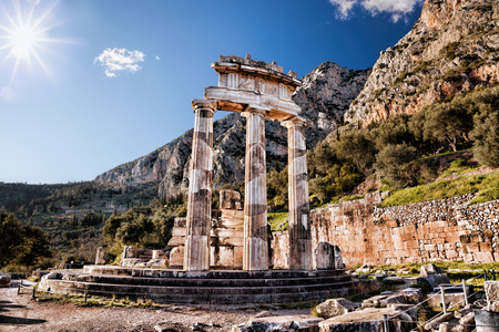 greece: Delphi with ruins of the Temple in Greece Stock Photo