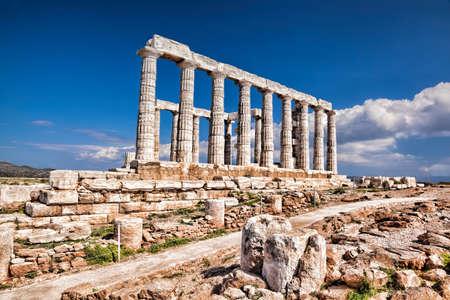 archaeologists: Famous Greek temple of Poseidon, Cape Sounion in Greece