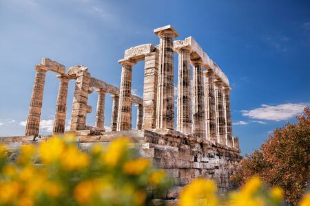 greek temple: Famous Greek temple of Poseidon, Cape Sounion in Greece