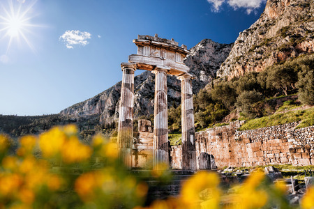 delphi: Delphi with ruins of the Temple in Greece Stock Photo