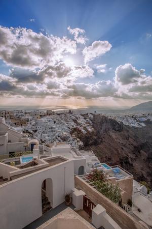 thira: Thira town in the evening on Santorini island, Greece