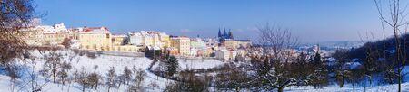 gothic castle: Snowy Prague gothic Castle in Czech Republic Stock Photo