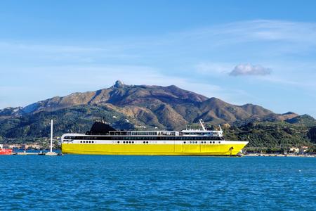 ionio: Zakynthos Town harbor with ferry on Zakynthos island in Greece