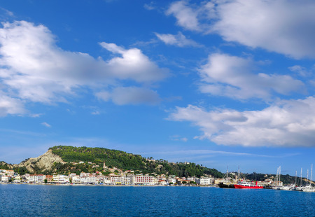 zakynthos: Panorama of Zakynthos town with boats in the marina on Zakynthos island, Greece