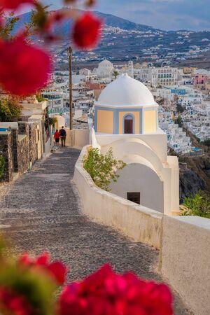 caldera: Spring time on Santorini island in Greece