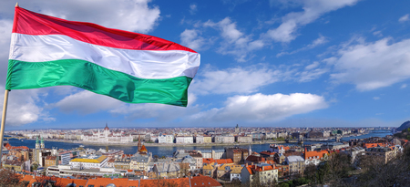 Parliament in Budapest with flag of Hungary Фото со стока