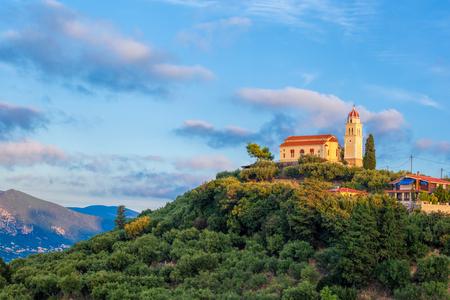ionio: Zakynthos Island with Agios Nicolaos church on the top of hill in Greece
