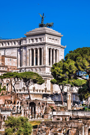 emmanuel: Roman Forum with National Monument of Victor Emmanuel II in Rome, Italy Stock Photo