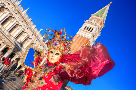 marco: Carnival mask on San Marco square in Venice, Italy Stock Photo