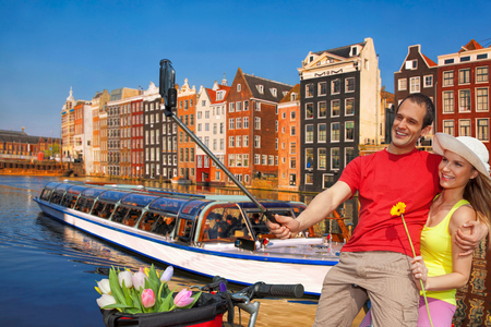 holland: Selfie against canal in Amsterdam, Holland Stock Photo