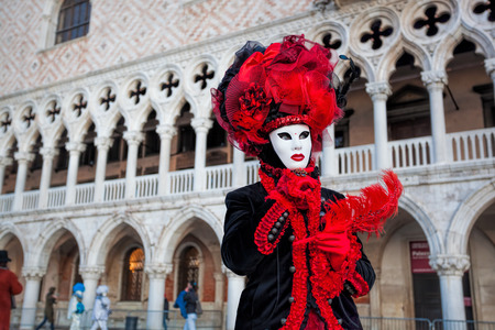 elegant party: Carnival mask against Doge palace in Venice, Italy