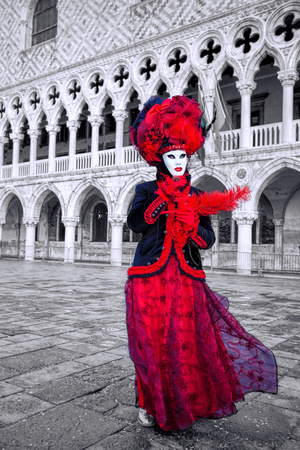 doge: Carnival mask against Doge palace in Venice, Italy