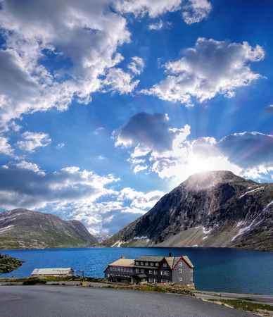 beautiful sky: Norway landscape with hotel
