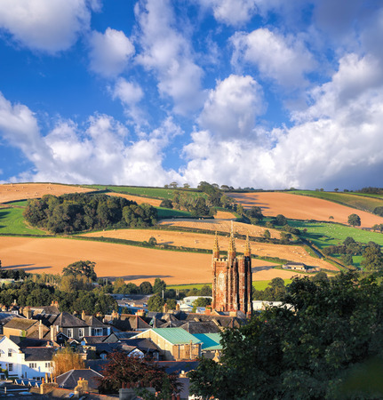 devon: Church in Totnes against countryside in England, UK Stock Photo