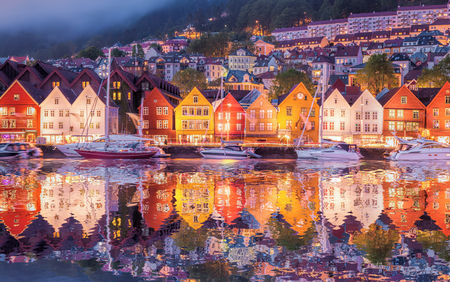 norway: Famous Bryggen street in Bergen, Norway