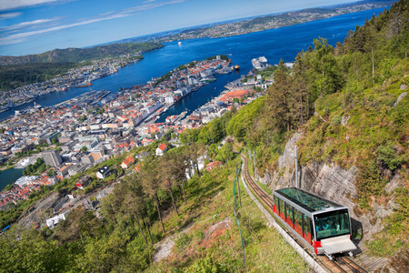 View from Floyen with lift in Bergen Norway 스톡 콘텐츠