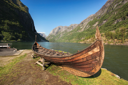 norway: Old viking boat in Gudvangen village near Flam, Norway