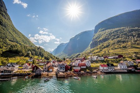 norway: Beautiful Fishing village Undredal close the fjord near the Flam in Norway