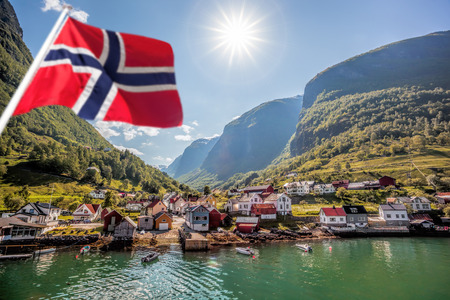 Beautiful Fishing village Undredal close the fjord near the Flam in Norway