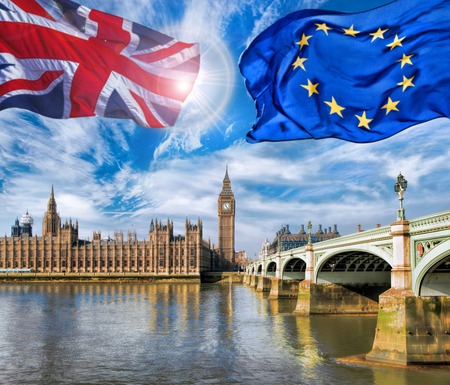 European Union and British Union flag flying against Big Ben in London, England, UK, Stay or leave, Brexit 스톡 콘텐츠