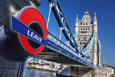 feuilles arbres: Bretagne vote pour LAISSER Union européenne, Tower Bridge à Londres, Angleterre, Royaume-Uni