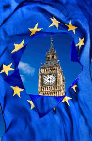 union flag: Broken European Union flag against Big Ben in London, England, UK