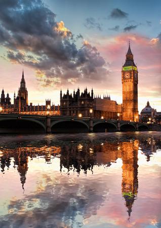 england: Big Ben against colorful sunset in London, England, UK